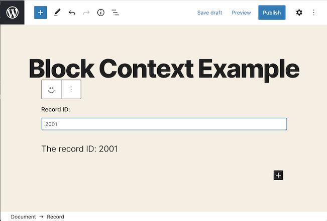 Block Context Example