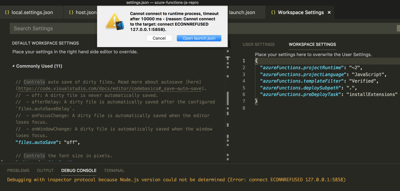 VS Code JavaScript Functions project: Debugging does not work (based