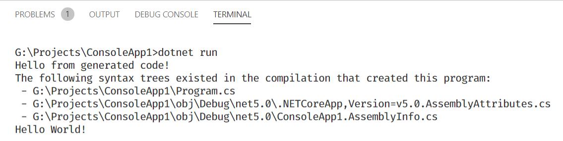 透過 dotnet run 執行 ConsoleApp1 程式