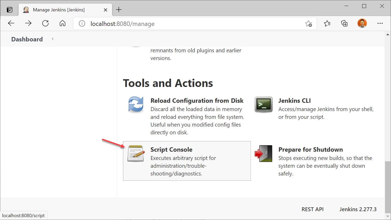 Manage Jenkins > Script Console