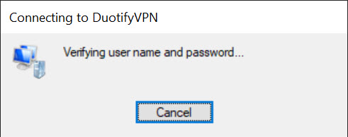 Connecting to DuotifyVPN