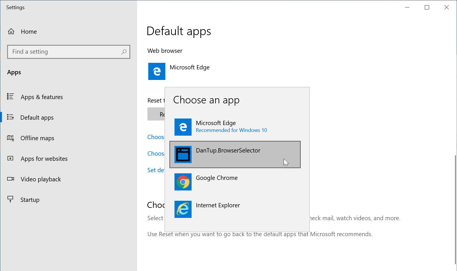 將預設瀏覽器調整為 DanTup.BrowserSelector