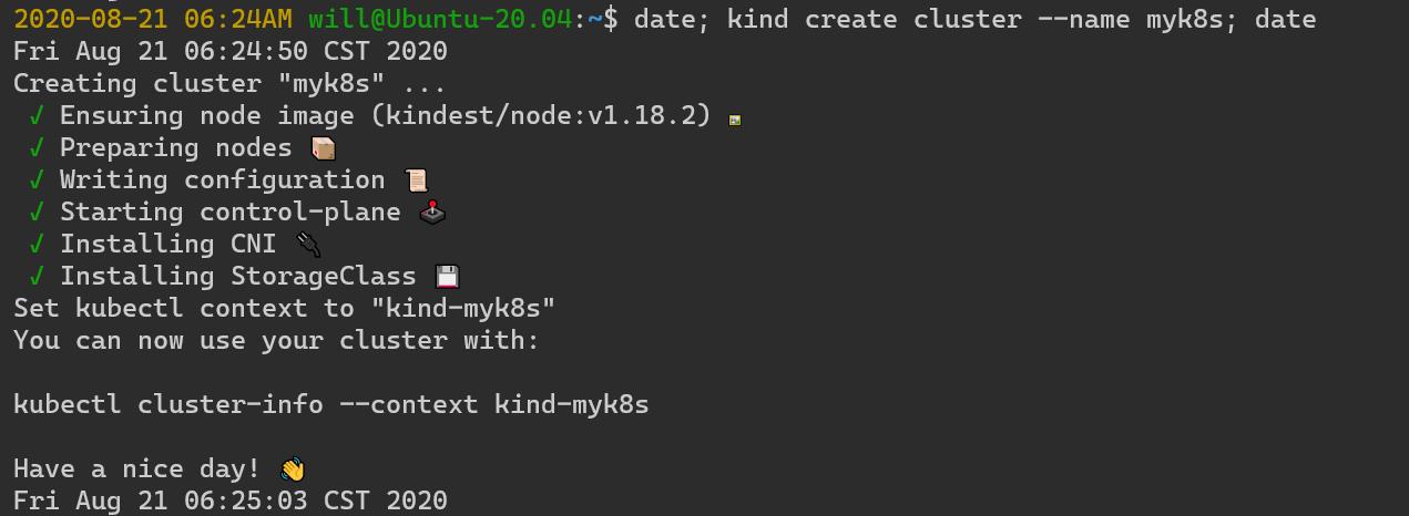 kind create cluster --name myk8s