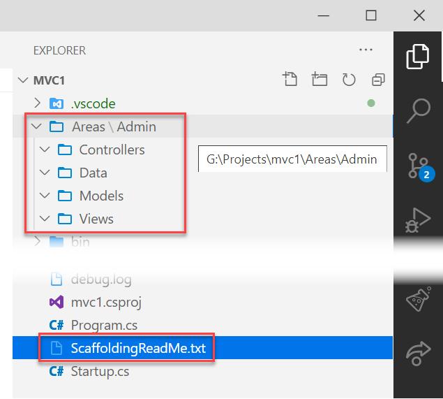 建立 ASP.NET Core MVC 的 Area 目錄結構