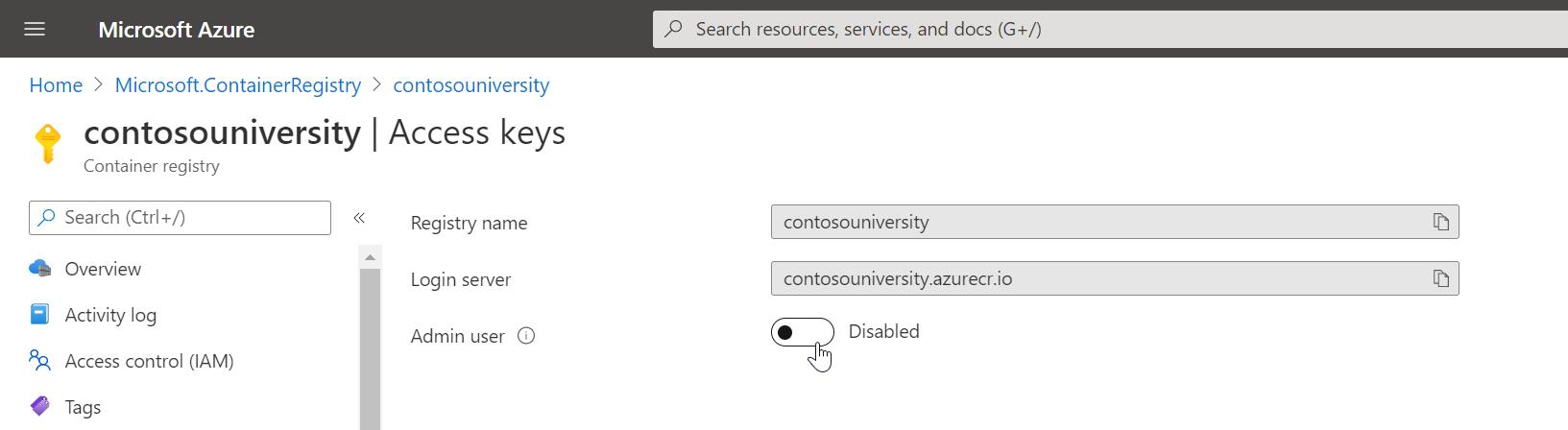 ACR 預設並沒有啟用 Admin user 帳號