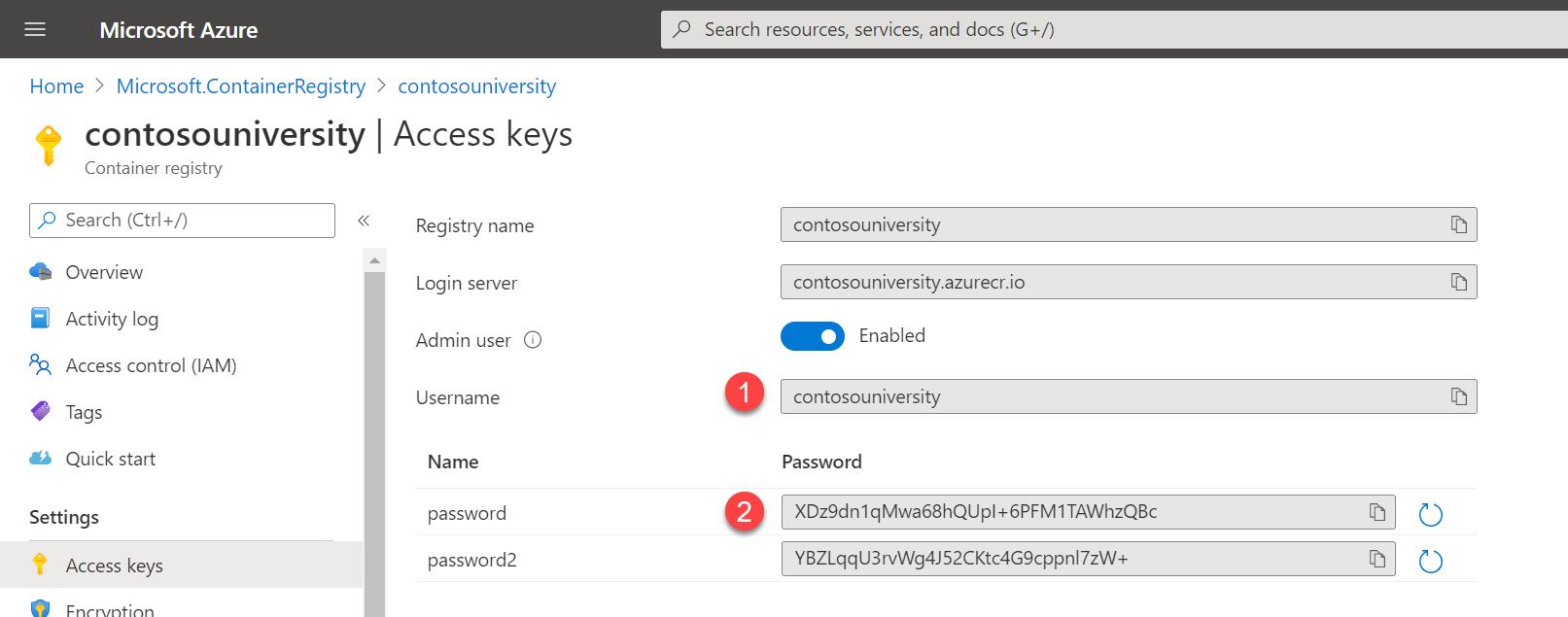 啟用 Admin user 之後,你就會得到一個 Username 與兩個 Password (任選一個皆可)