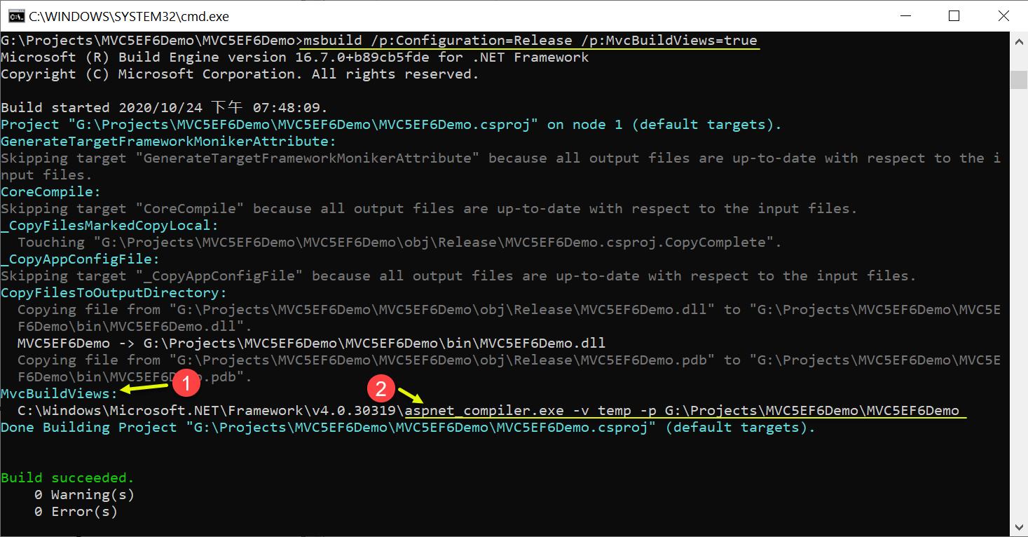 msbuild /p:Configuration=Release /p:MvcBuildViews=true