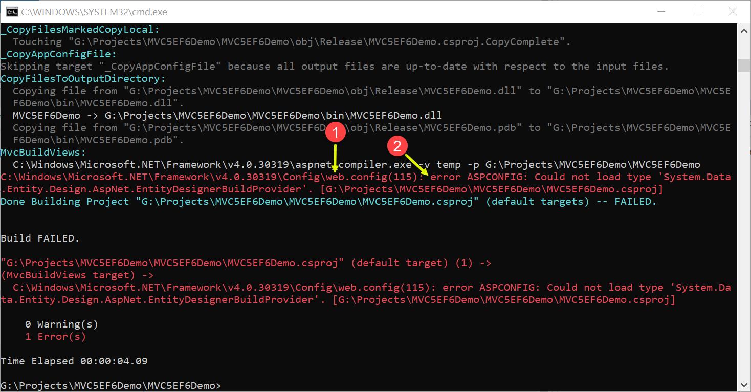 C:\Windows\Microsoft.NET\Framework\v4.0.30319\Config\web.config(115): error ASPCONFIG: Could not load type 'System.Data.Entity.Design.AspNet.EntityDesignerBuildProvider'.