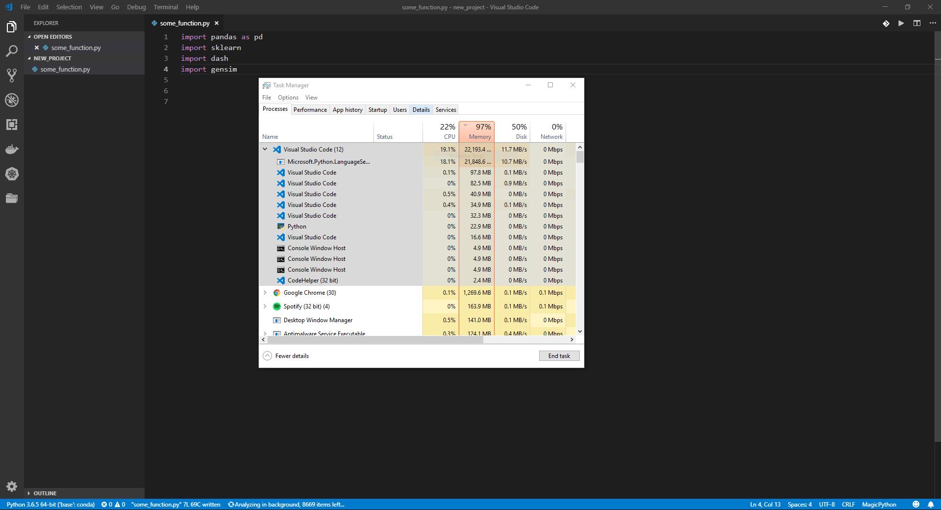 High memory usage · Issue #832 · microsoft/python-language