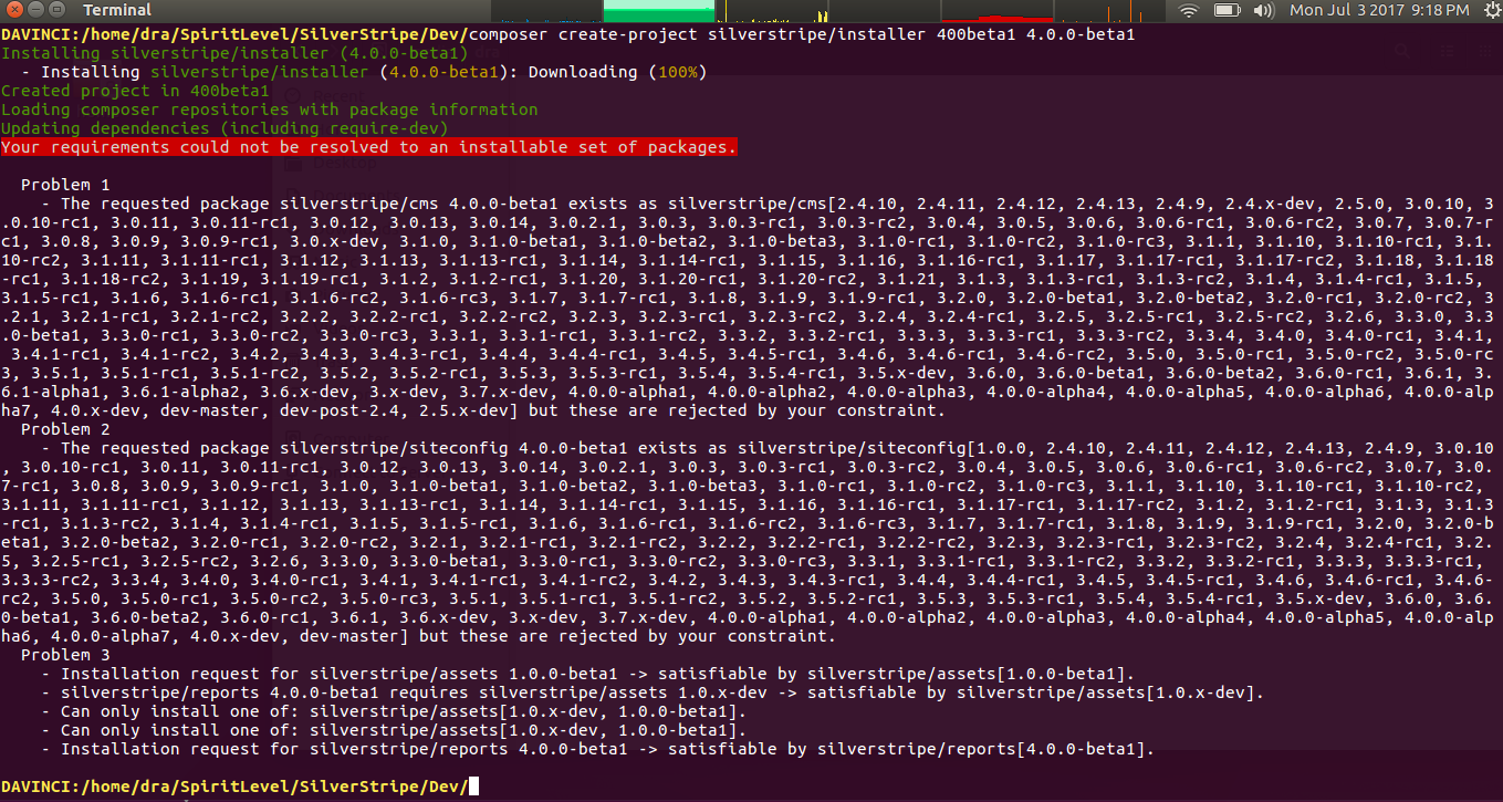 Composer install of SS4 beta 1 fails · Issue #187