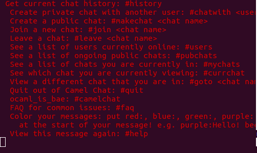 help message