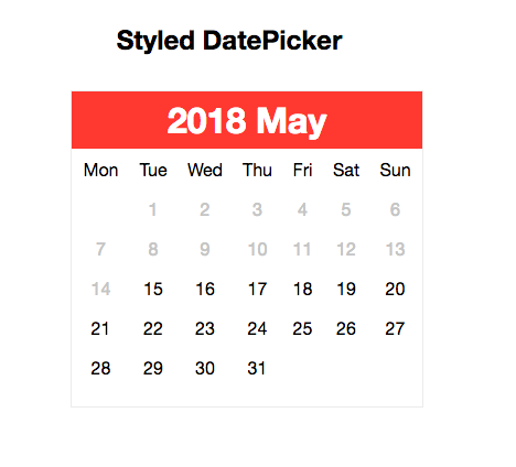 styled datepicker example