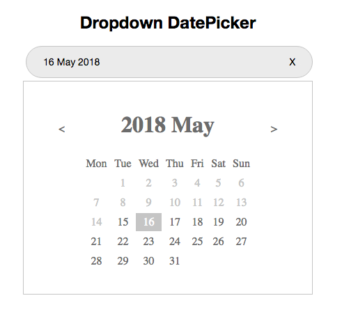 dropdown datepicker example