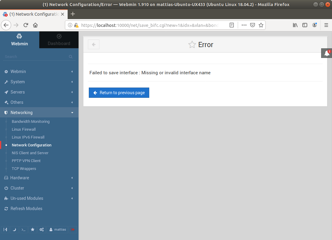 Webmin on Ubuntu Server 18 04LTS: Network settings not
