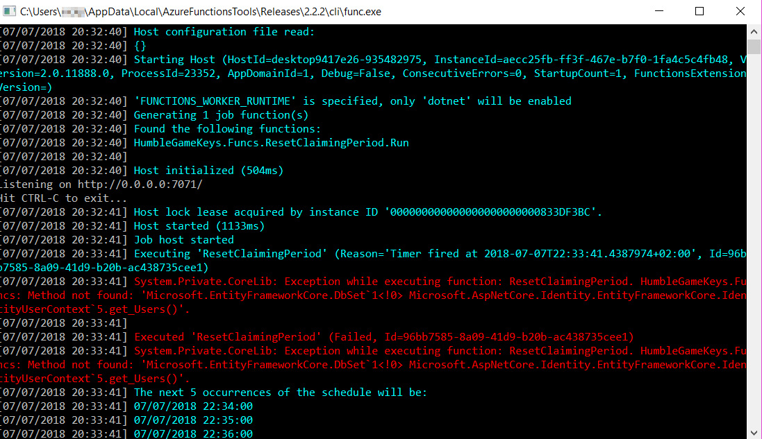 Use of IdentityDbContext not supported in Azure Function