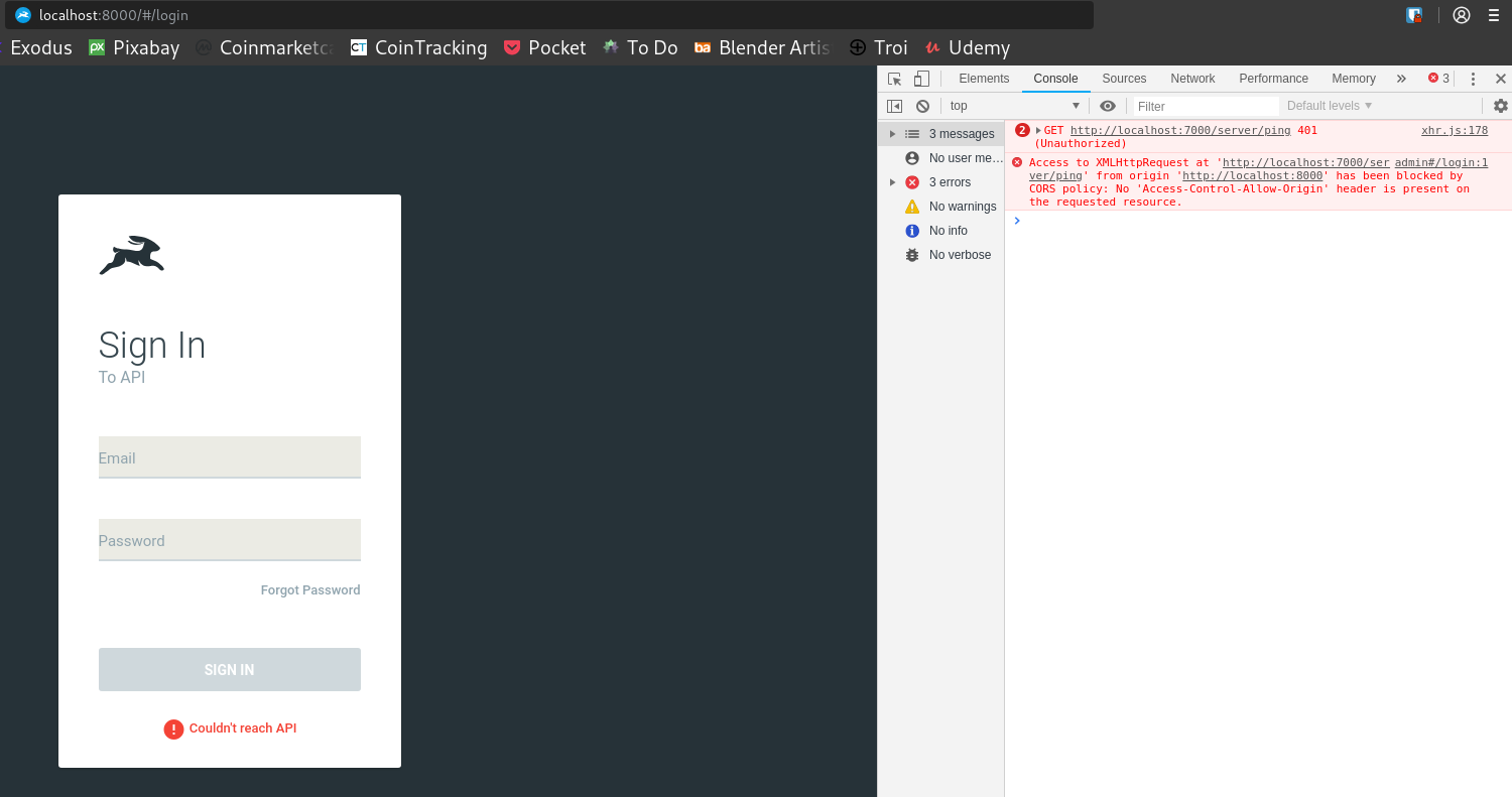 CORS error when opening the app · Issue #22 · directus