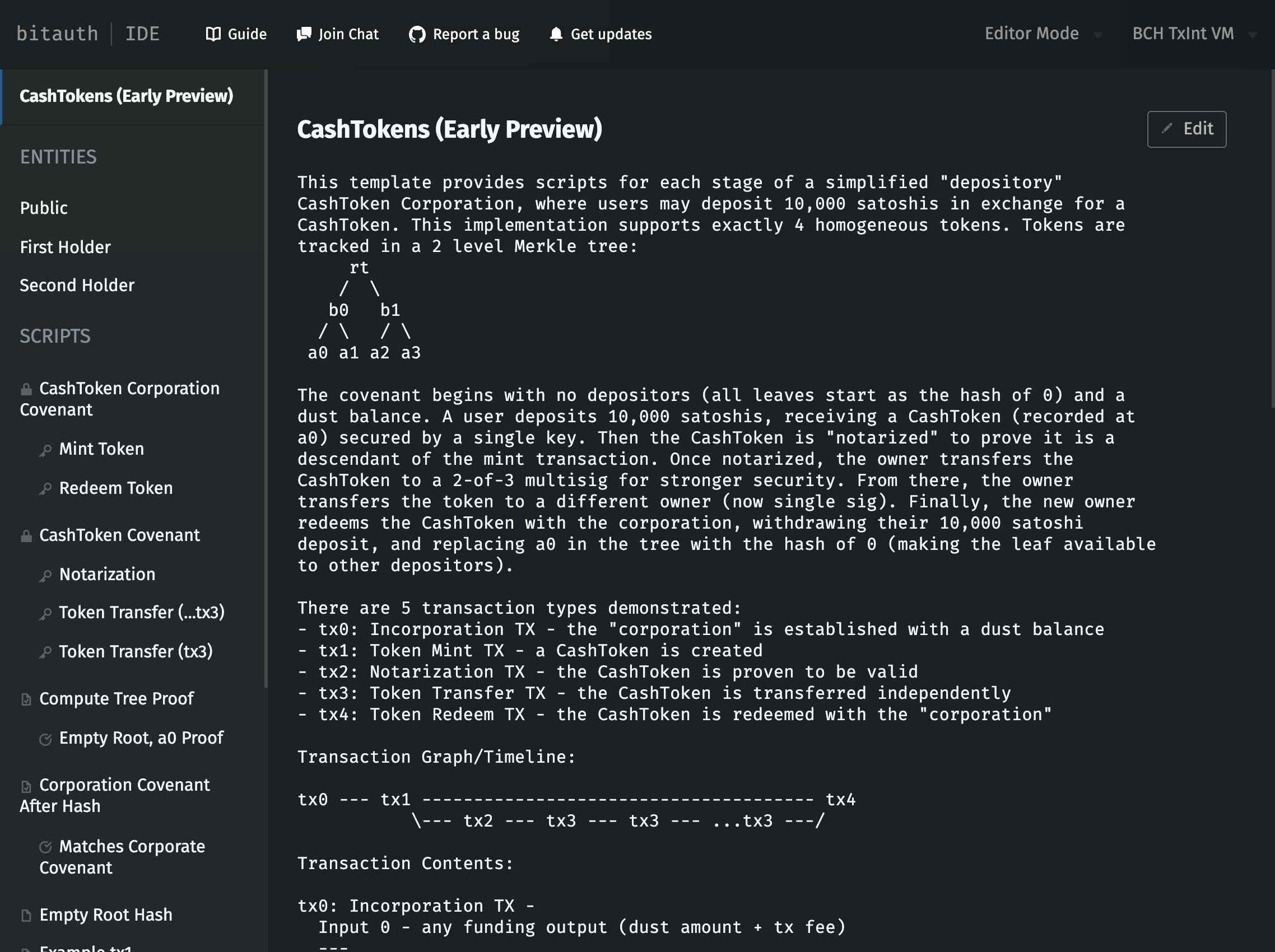 CashTokens template screenshot