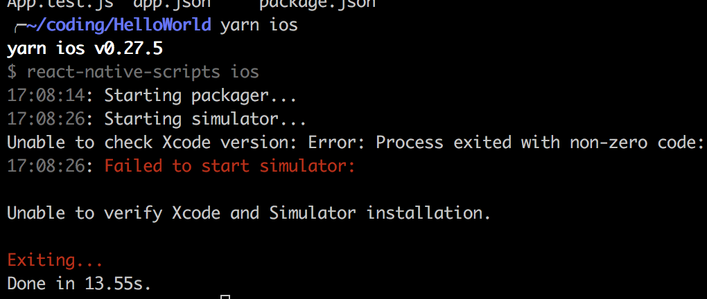 ios: Unable to verify Xcode and Simulator installation