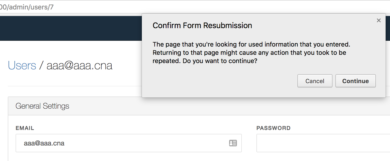 confirm form resubmission fix