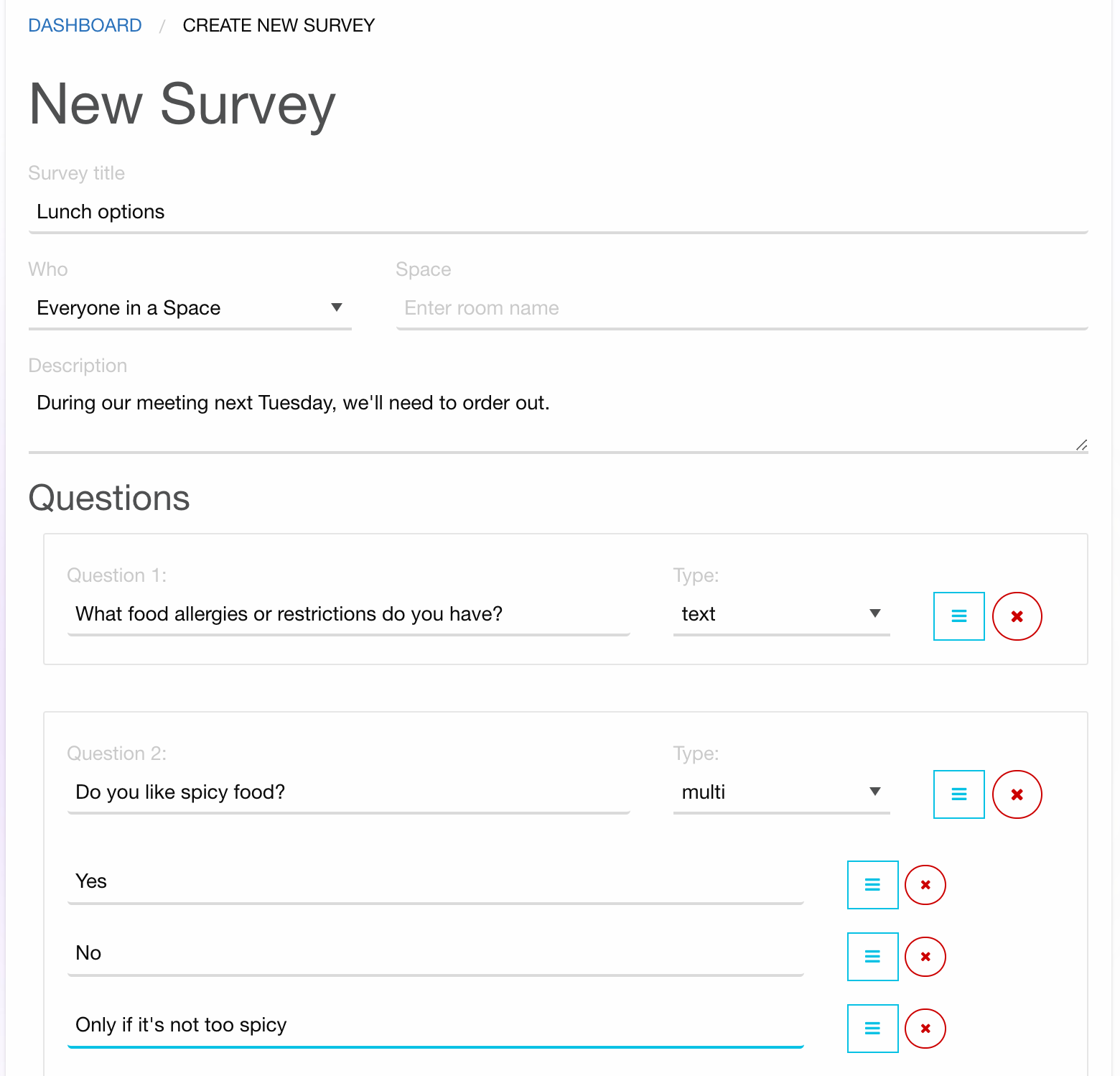 Screenshot of creating a new survey
