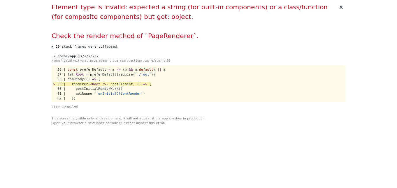 wrapPageElement is not working when being exported using