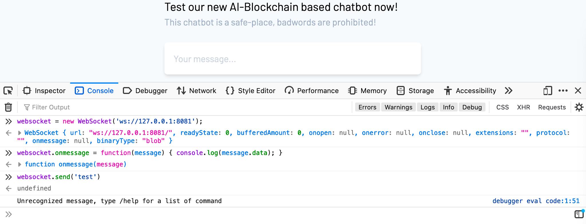 misc ctf websocket chatbot connexion