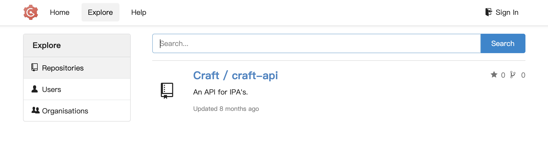Gogs instance Craft website