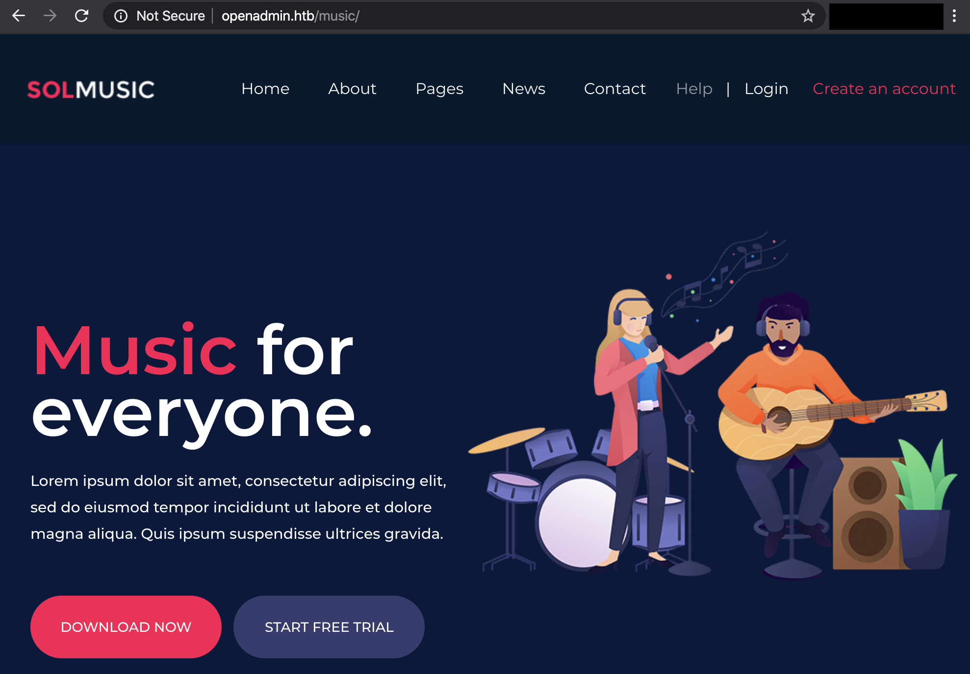 music website hackthebox