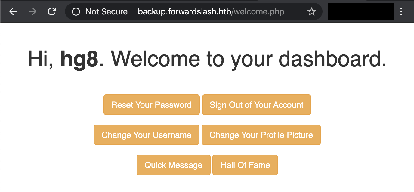 welcome page backup forwardslash