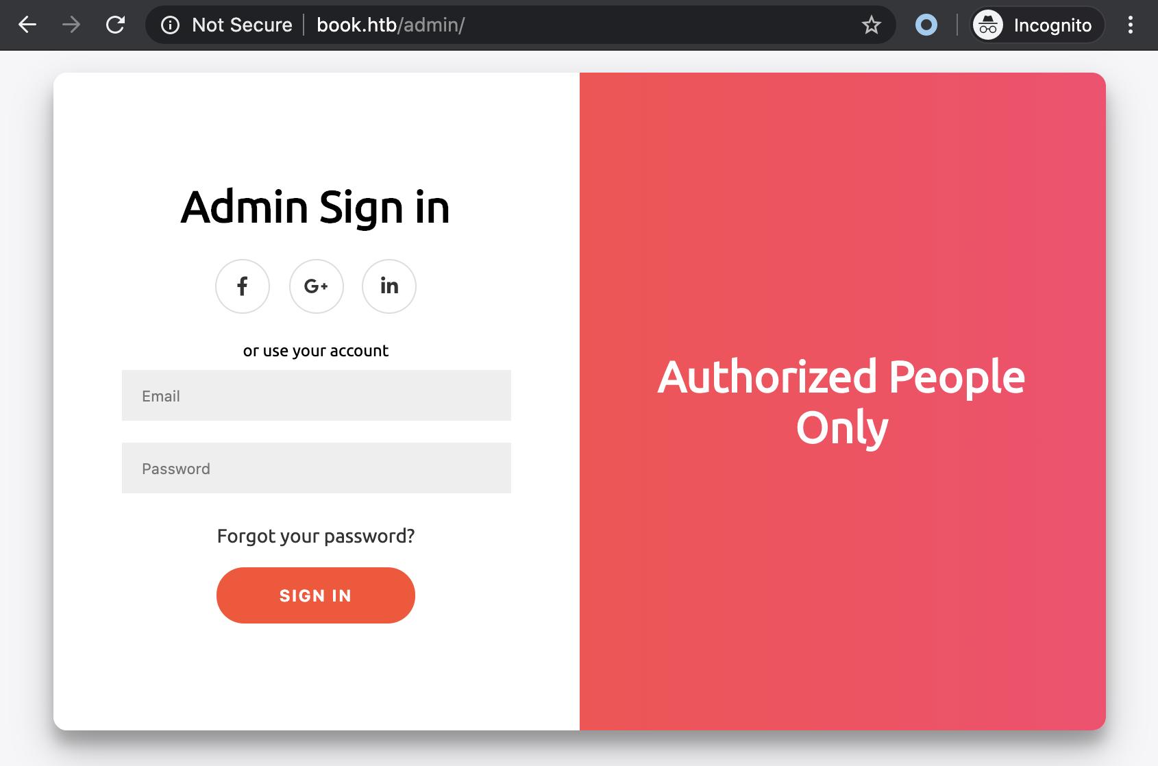 book admin login page