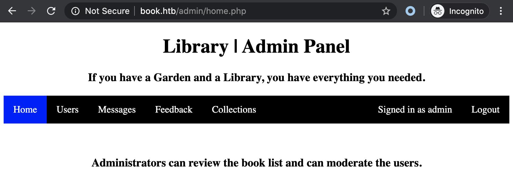 book admin panel