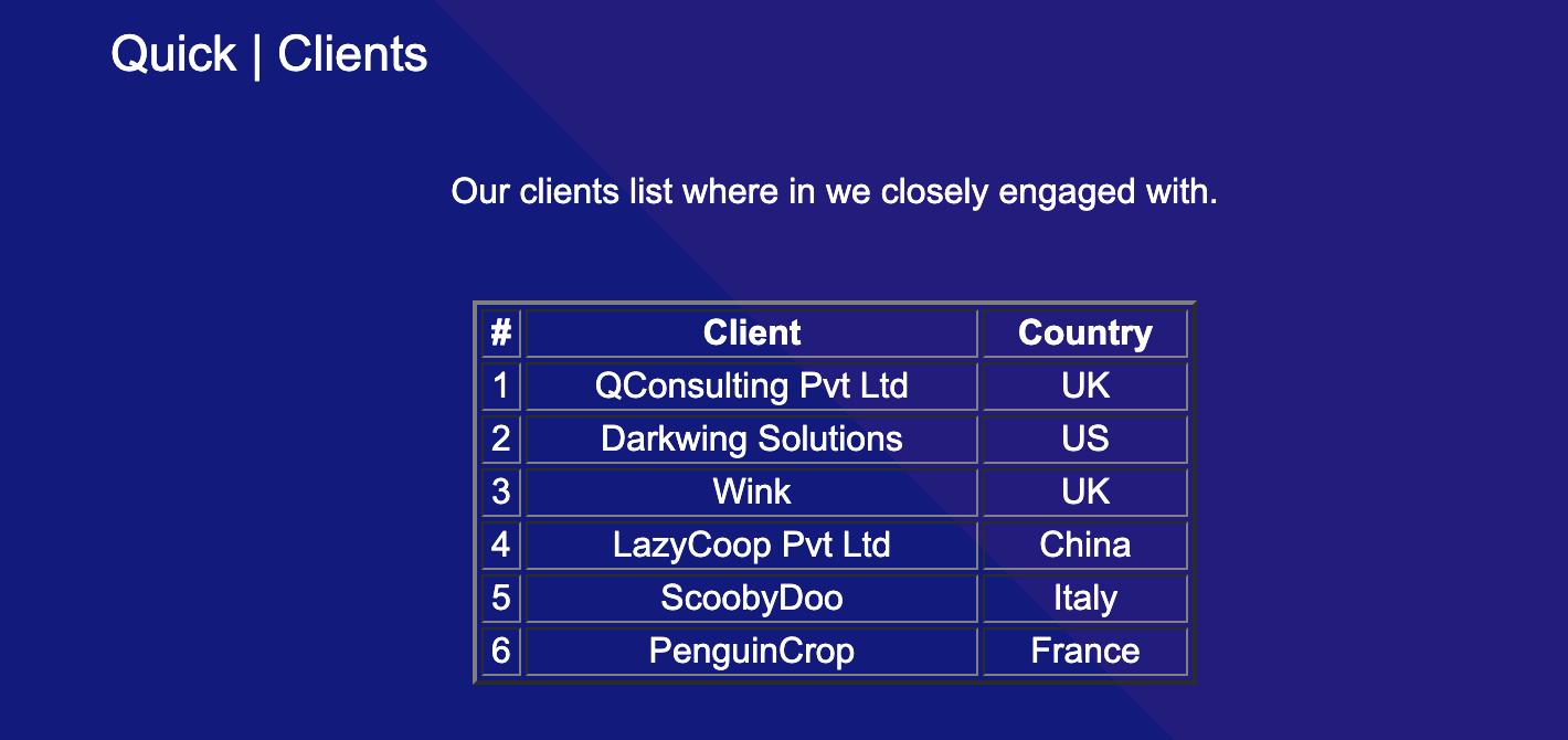 quick client page