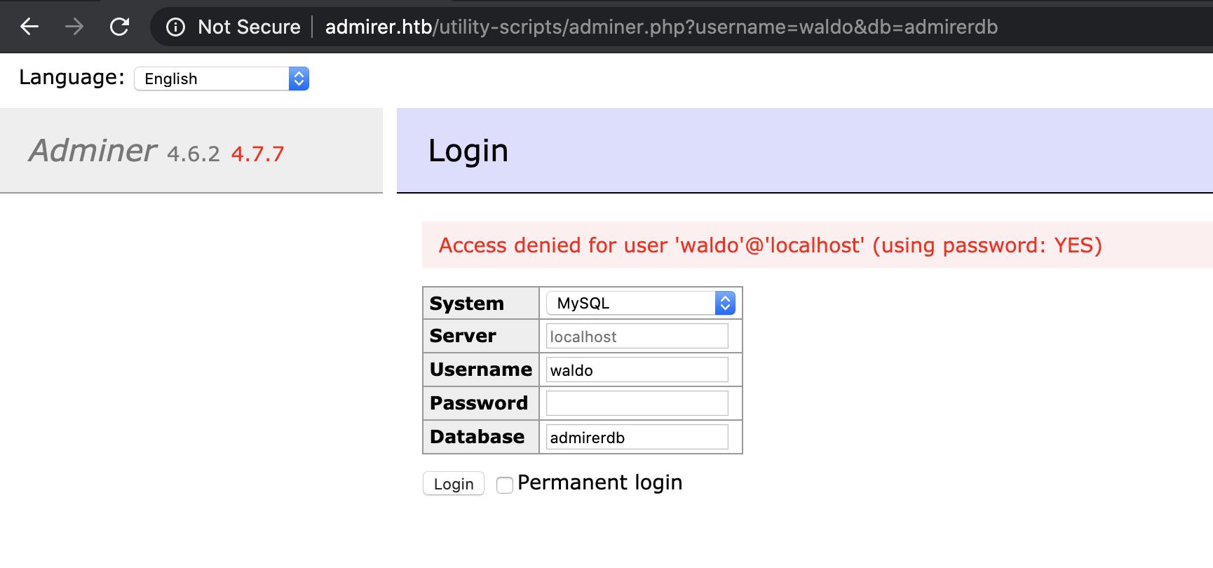 admirer adminer homepage