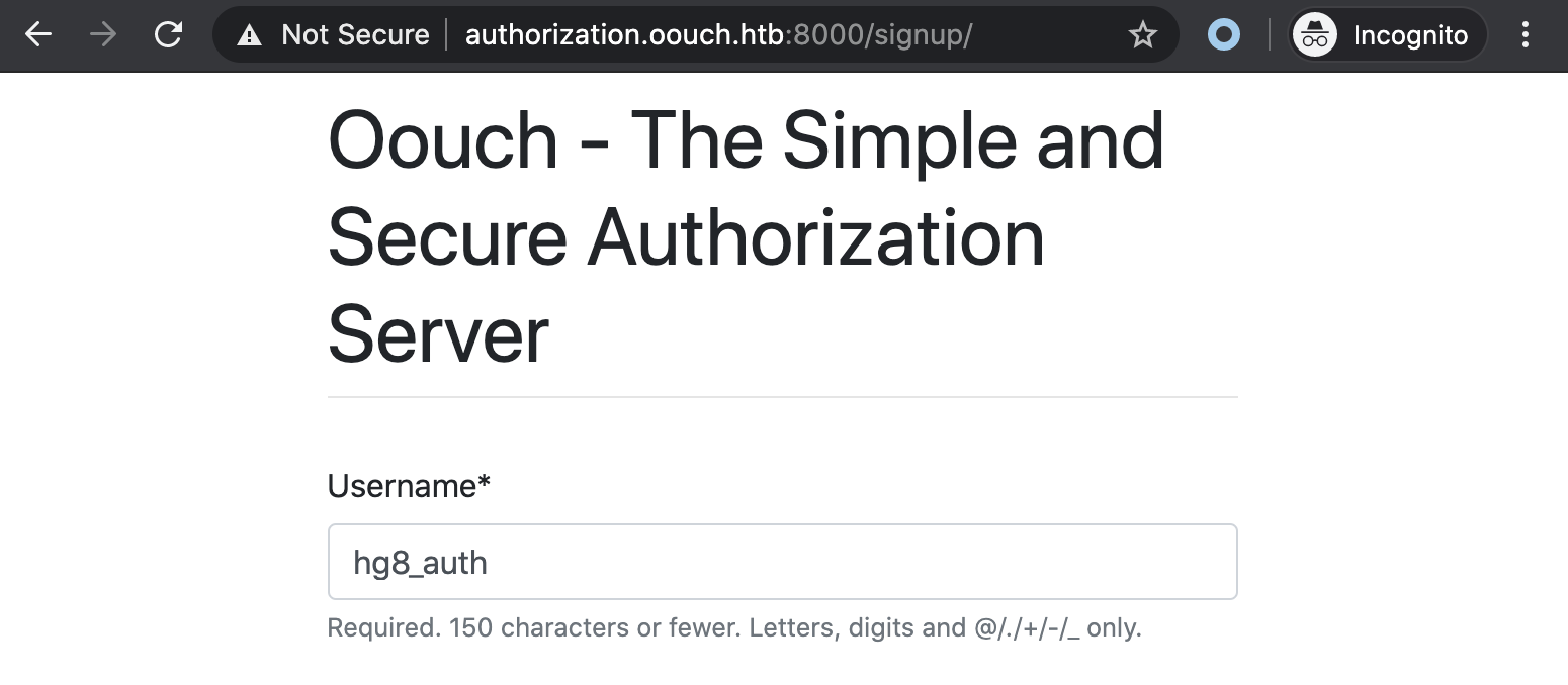 Oouch new authorization