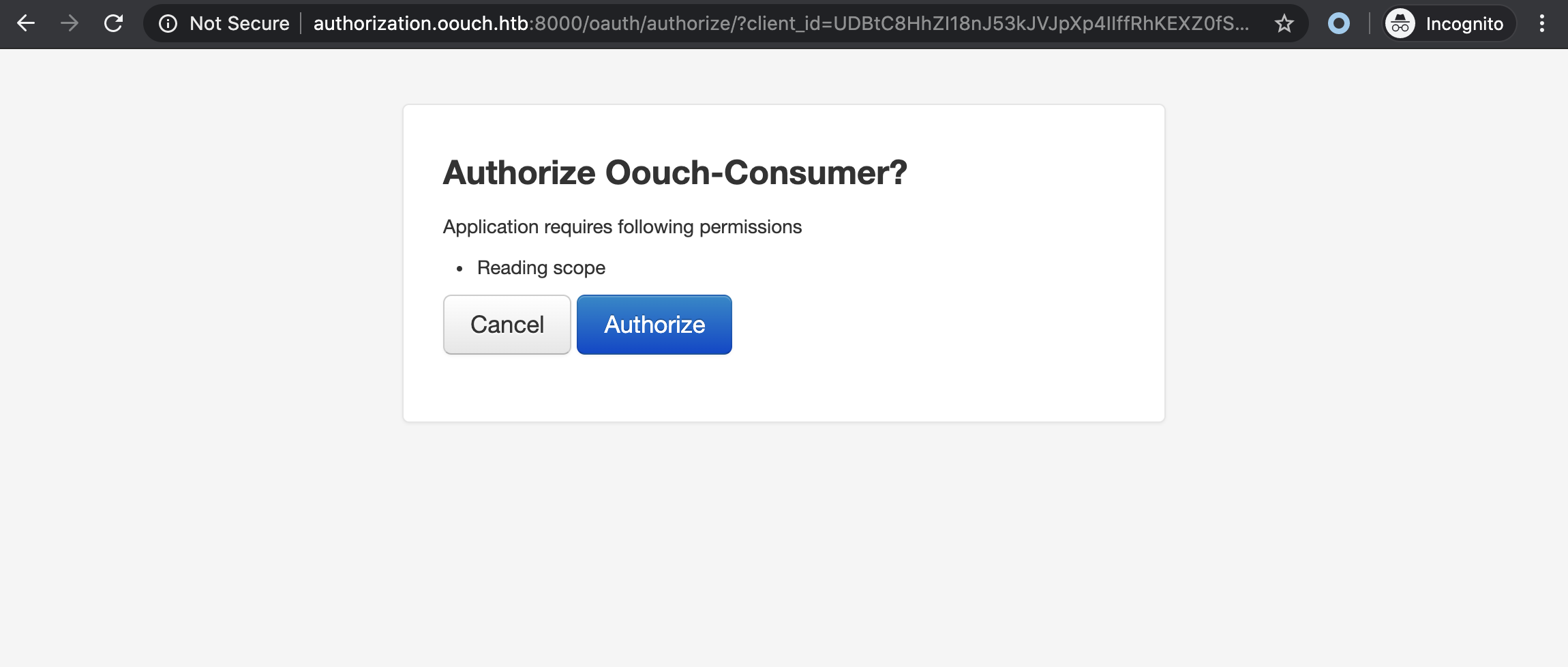 oouch auth authorization form
