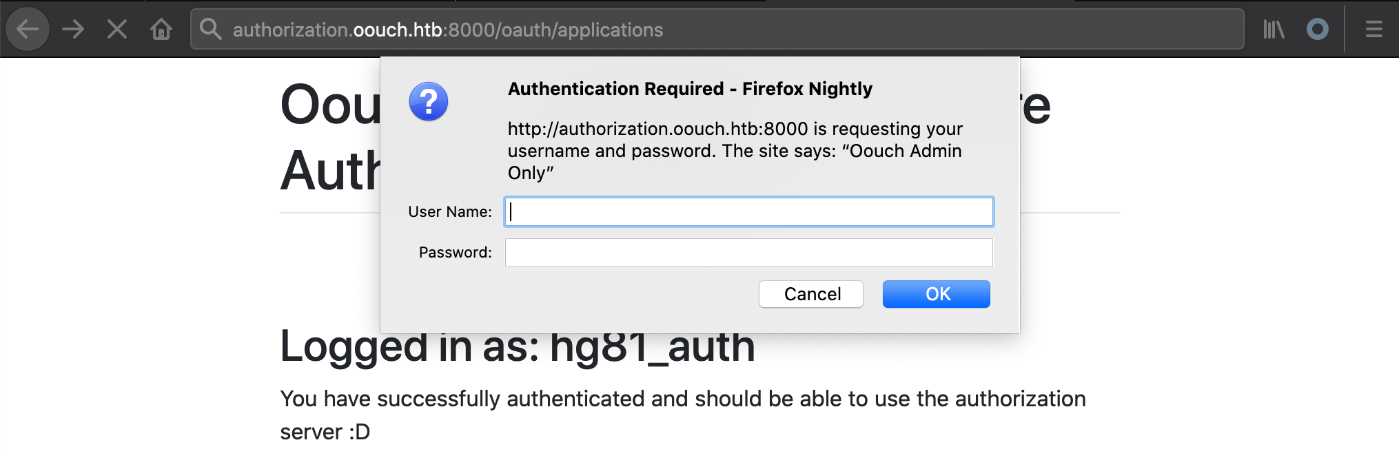 oouch oauth applications endpoint