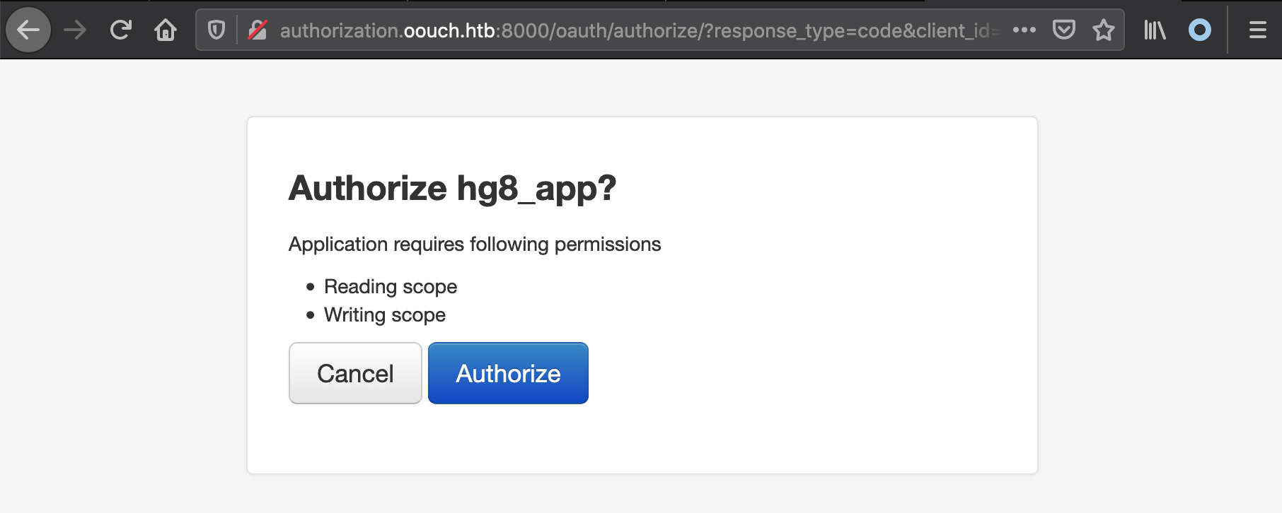 oouch oauth app authorize