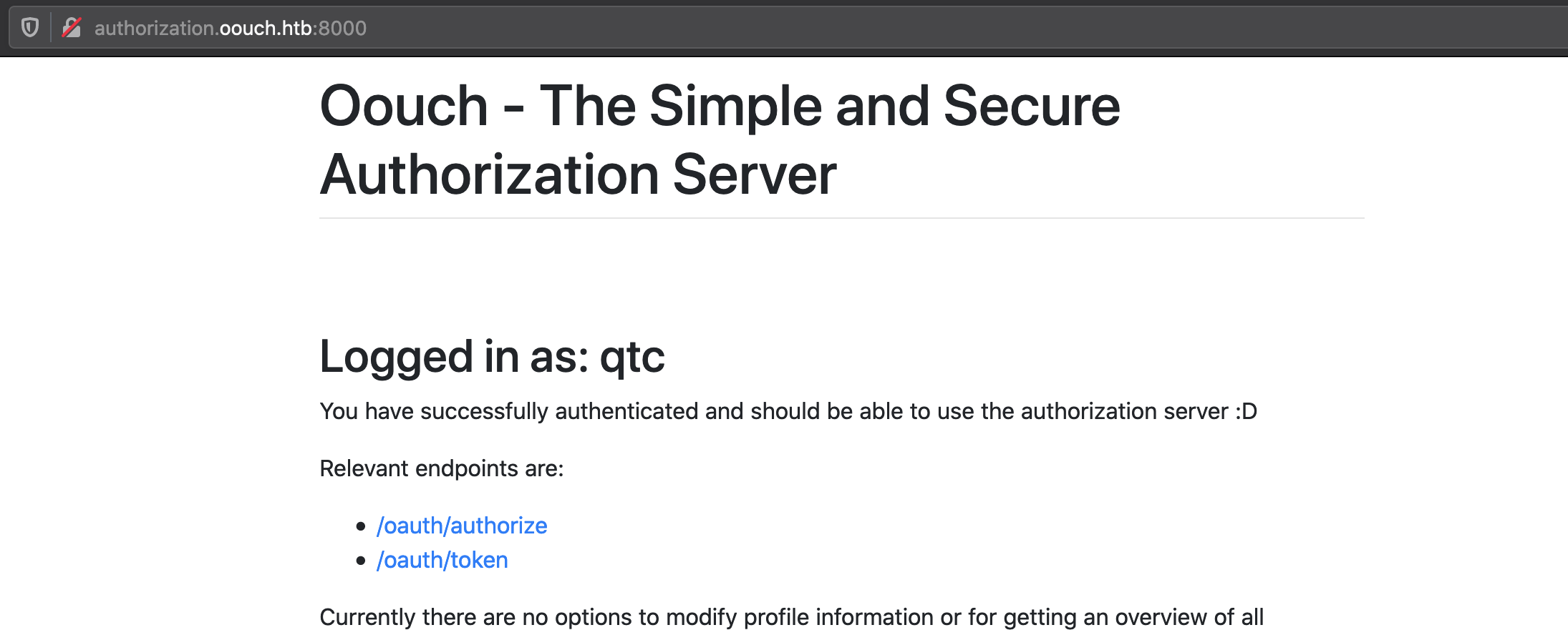 oouch authorization logged qtc