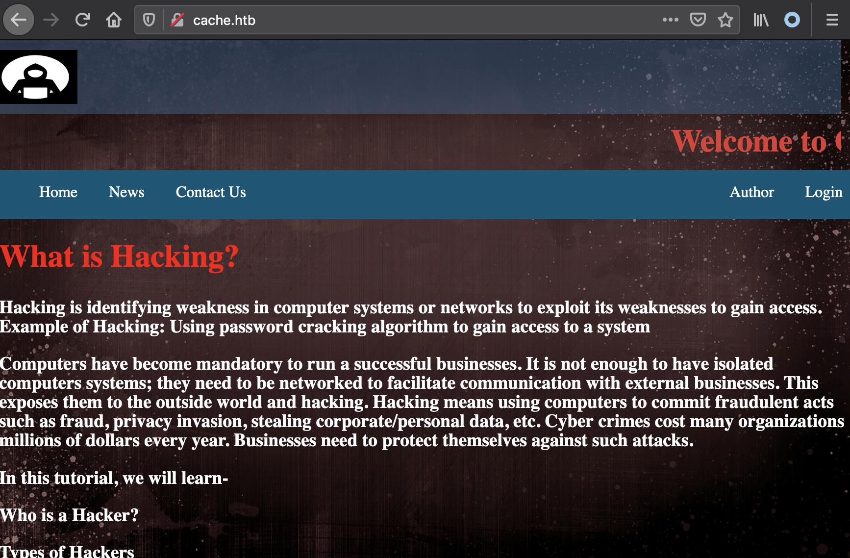cache homepage
