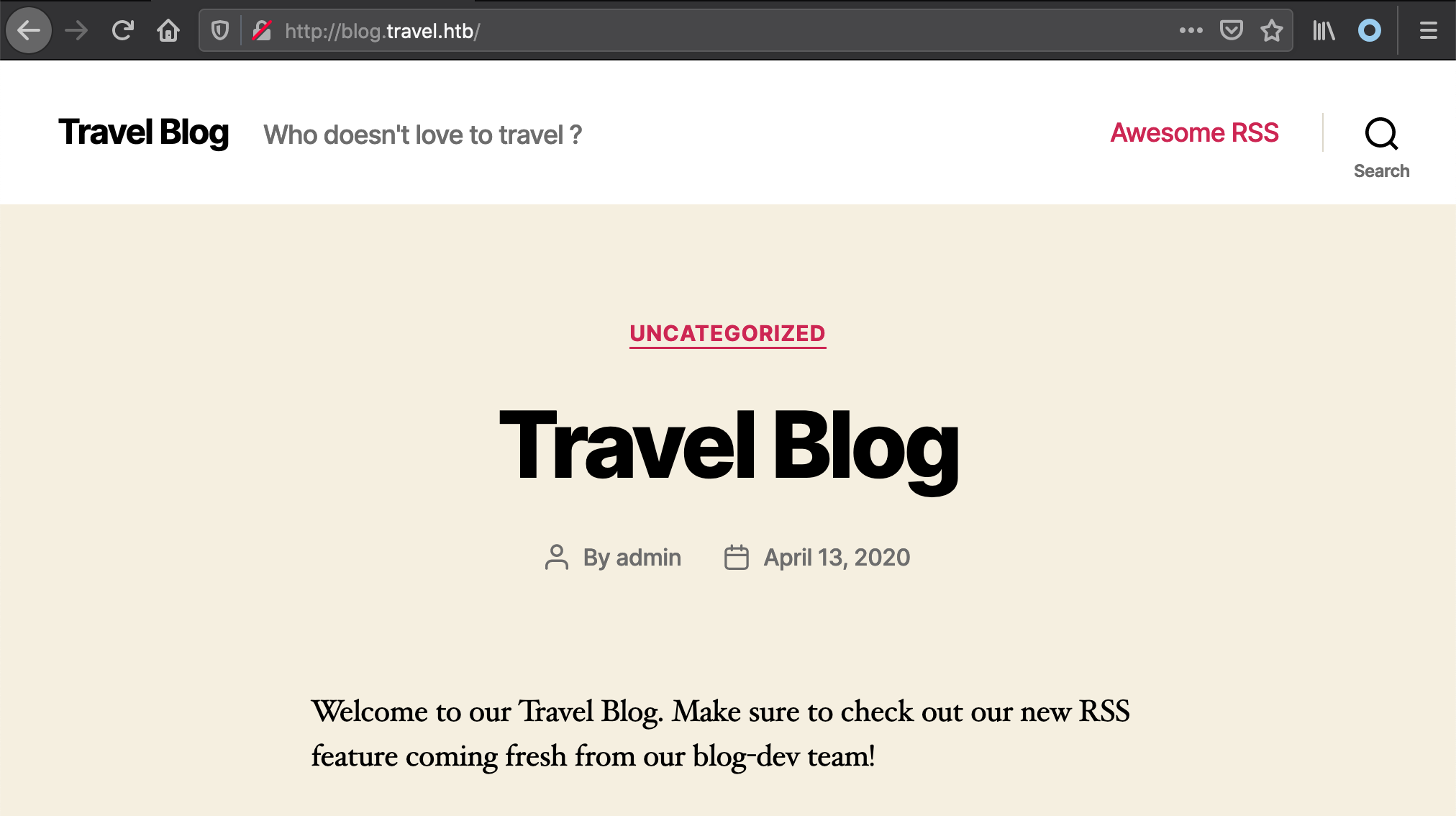 travel blog homepage