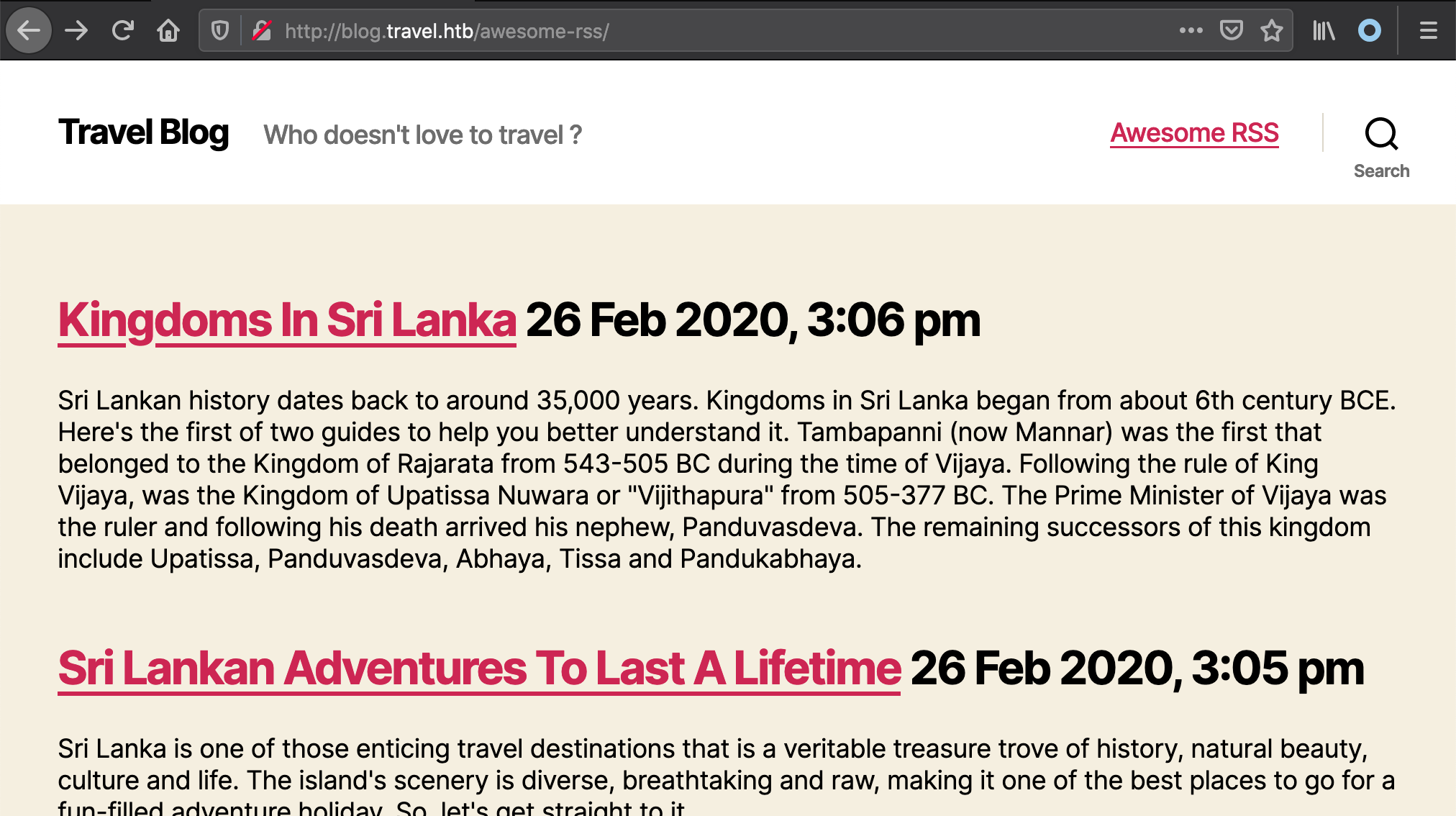 travel RSS feature
