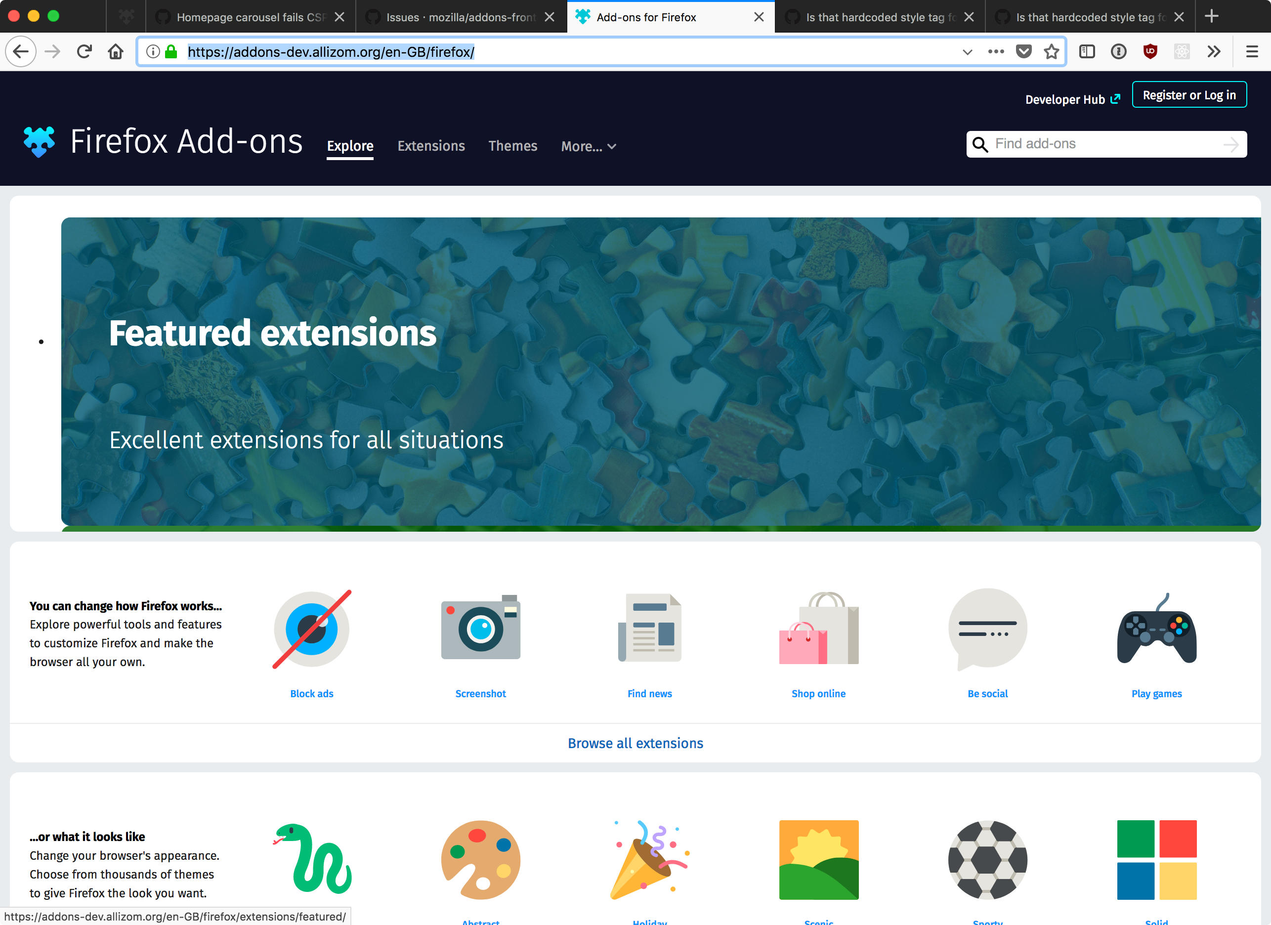 Homepage carousel fails CSP · Issue #3349 · mozilla/addons-frontend