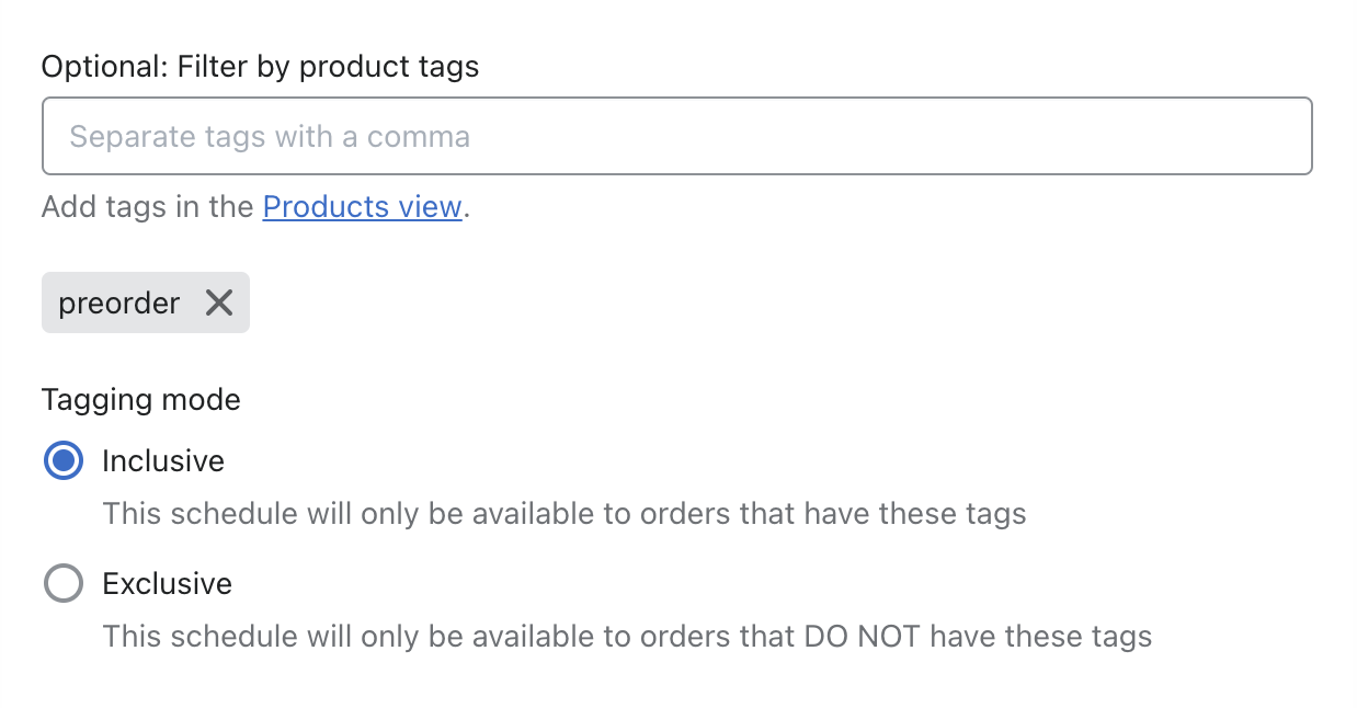 Set tagging mode to inclusive