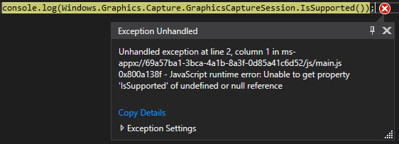 Is the Graphics Capture API supported on Javascript UWP apps or PWAs