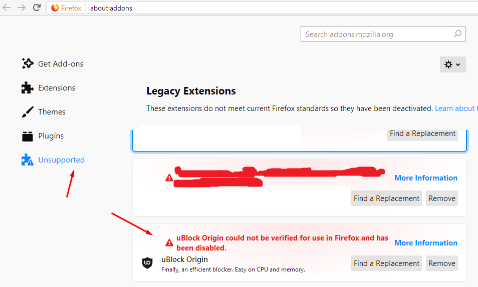 uBlock Origin could not be verified for use in Firefox and has been