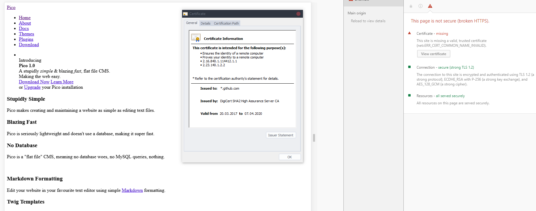 Picocms org is broken when using https · Issue #437