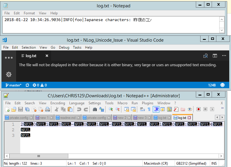 Written Log file using Unicode (UTF-16) encoding cannot be