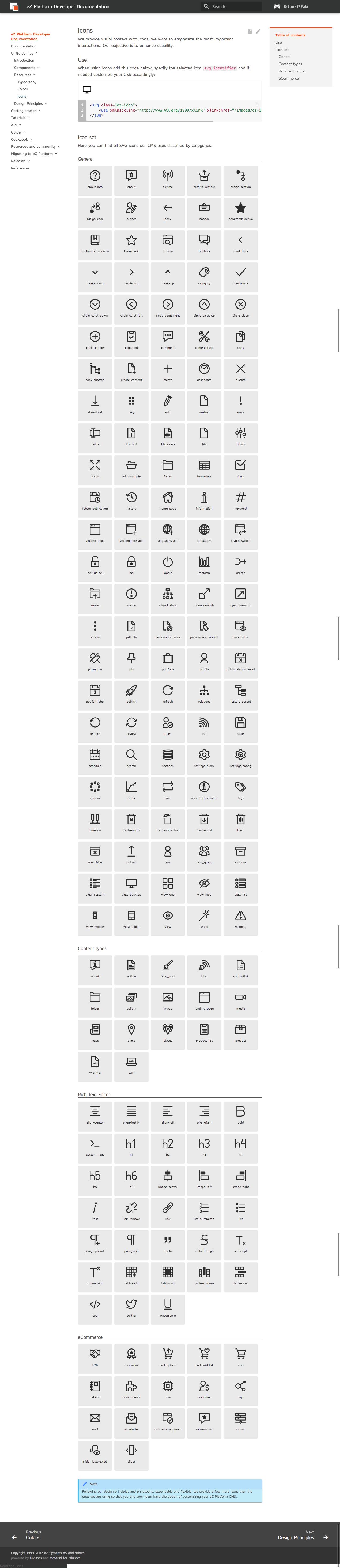 icons - ez platform developer documentation 1