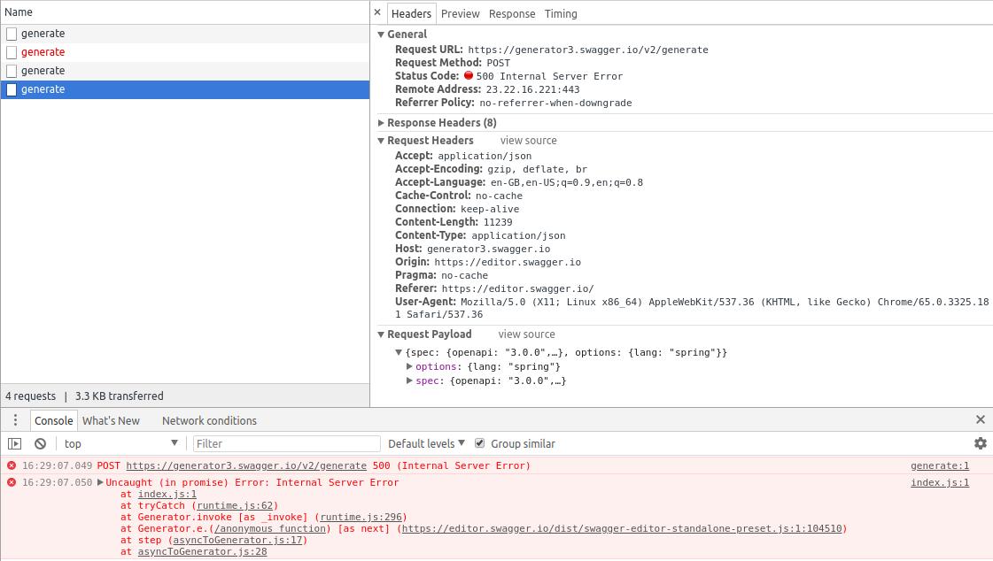 Spring Server Side Code Generator Not working for openapi