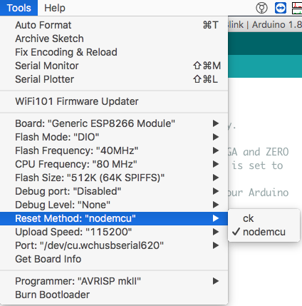 OSX - Nodemcu v1 0 not showing on Arduino IDE port menu